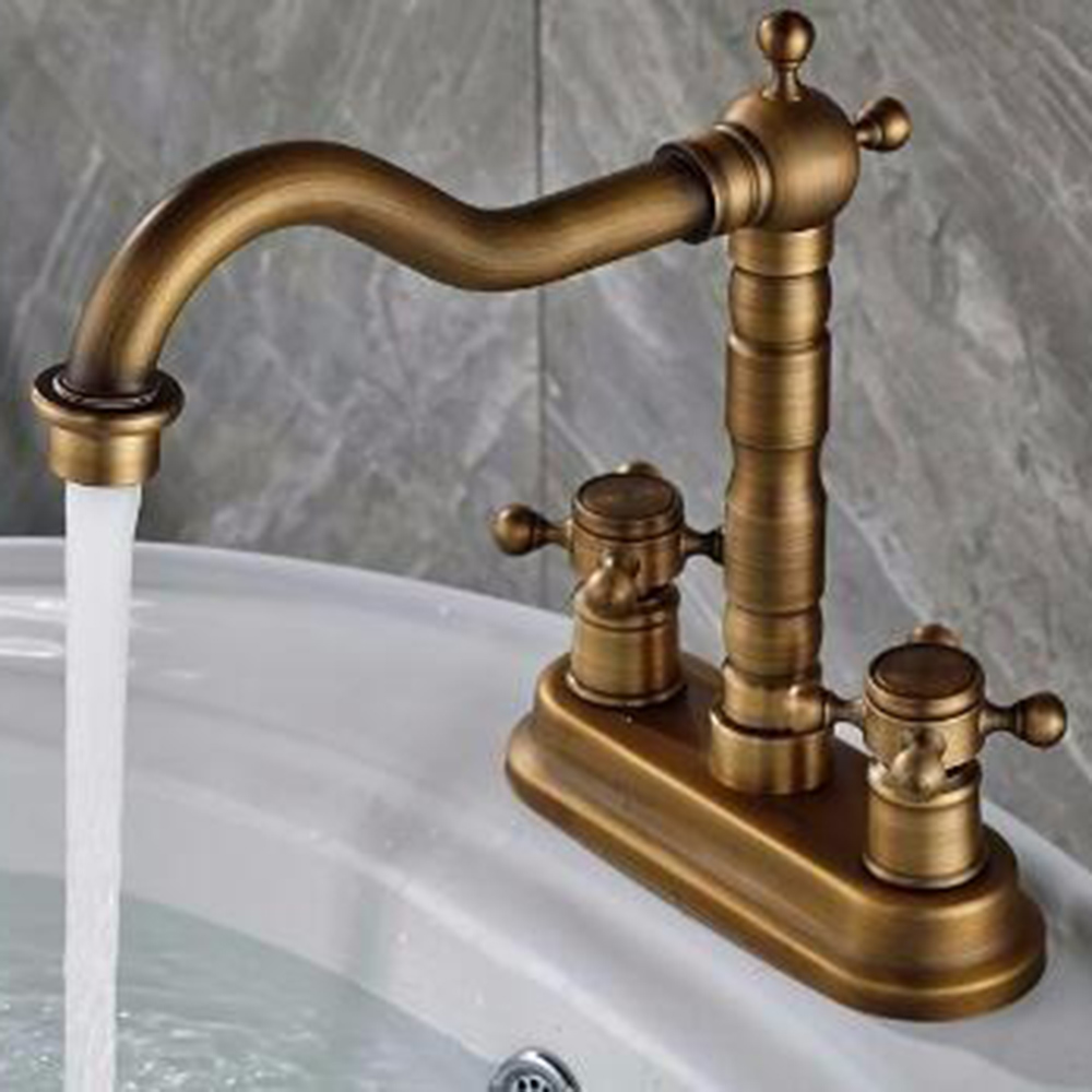 Bathroom faucet deck mounted brass bath spout modern bathroom faucets - Deck Mounted Modern Antique Brass Bathroom Widespread Basin Sink Faucet Tap Deck Mounted Hot Cold Water