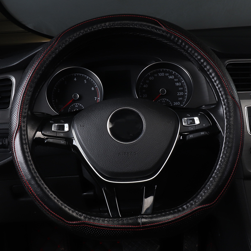 Housse de volant de voiture antidérapant accessoires en cuir véritable pour audi Q3 s3 Sq5 citroën C3 C4 CACTUS 2012 GRAND SPACETOURER