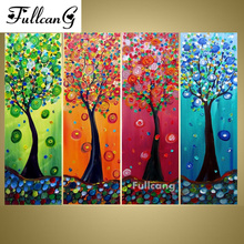 FULLCANG 5d dimond painting four seasons trees diamond embroidery 4pcs full square mosaic scenery E1136