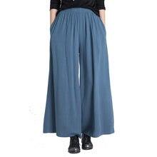 2018 señora algodón de lino pantalones de pierna ancha de largo recto  plisado Pant un tamaño chino estilo nacional de las mujere. b45f8698862c