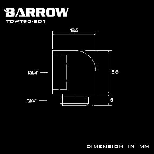 Купить с кэшбэком BARROW Gold Black Silver G1/4'' thread 90 degree Fitting Adapter water cooling Adaptors water cooling fitting TDWT90-B01