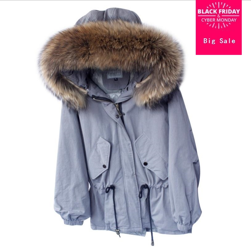 Winter fashion brand big nature real fur collar hooded duck   down     coat   female was thin stitching warm   down   vest wq233 dropship