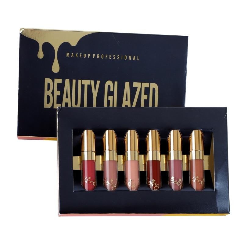 BELEZA VIDRADOS Brilho Fosco Batom Líquido Gloss Lábios Sensuais Conjunto de Maquiagem À Prova D' Água 6 pçs/set Glitter Kit Batom Cosméticos