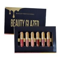 BEAUTY GLAZED Shimmer Matte Liquid   Lipstick   Lipgloss Sexy Lips Makeup Set Waterproof 6pcs/Set Glitter   Lipstick   Kit Cosmetics
