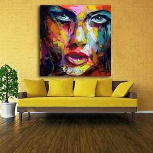 Image 3 - גדול גודל יד צבוע מופשט דמות ציור שמן על בד אישה פנים קיר תמונות לסלון חדר שינה בית תפאורה