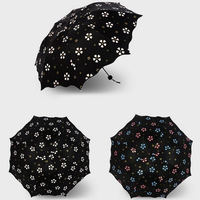 Three Folds Anti UV Protection Umbrella Flowers Pattern Color Changing Umbrella Five Different Colors