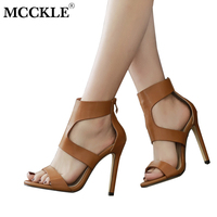 MCCKLE 2018 Women Stilettos High Quality PU Open Toe Gladiator Sandals Female Zipper Cover Heel Shoes