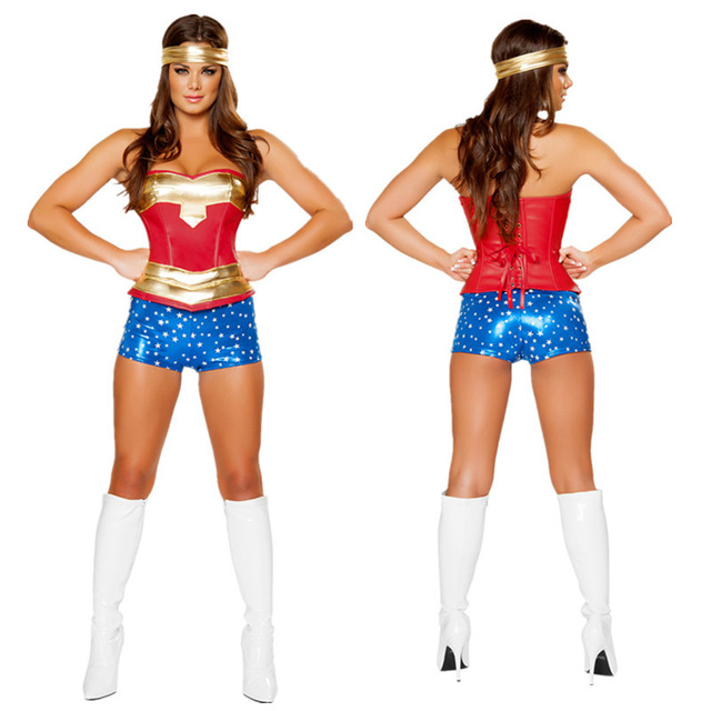 Wonder Women Sexy Costume Roma Heroine Hottie Captain Hero America  Halloween Costumes Superwoman Cosplay S M L XL 303f9c291451