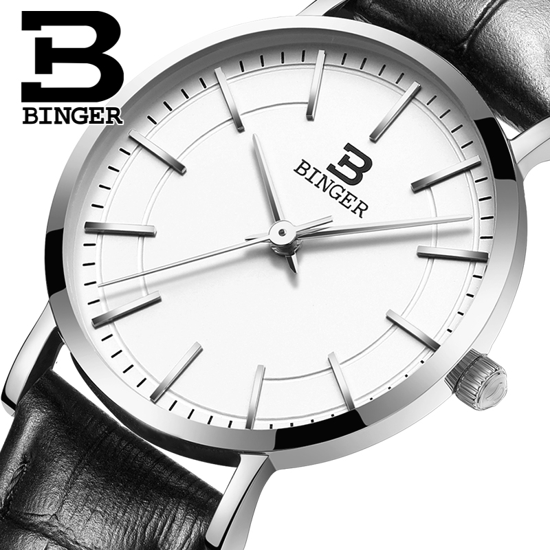 Switzerland BINGER women watches luxury brand ultrathin limited edition Waterproof lovers s quartz Wristwatches B 3050W
