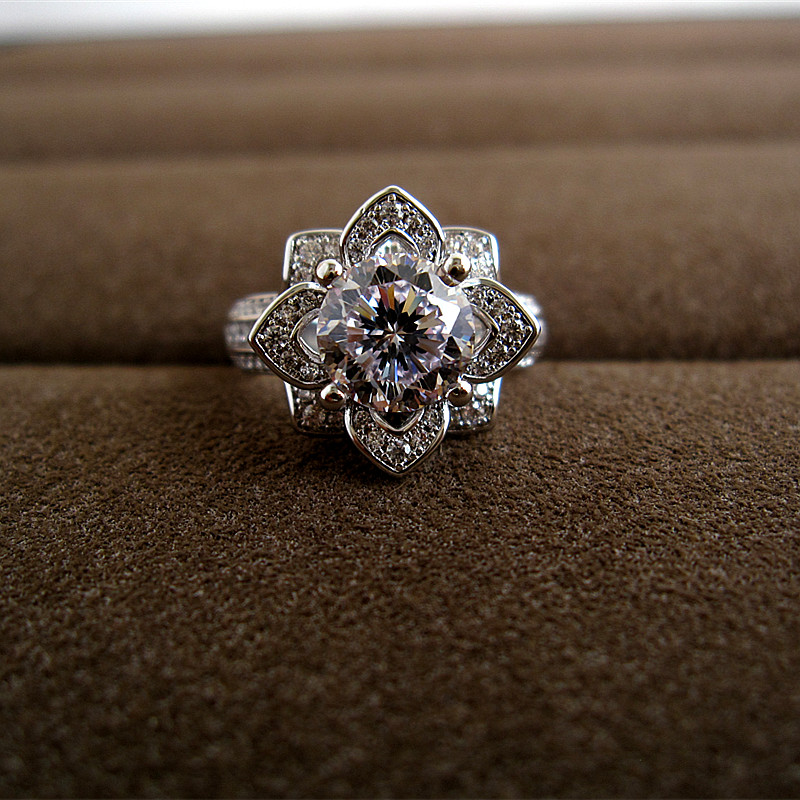 Luxury micro pave setting 2ct imported created diamon d flower shaped women's wedding ring,R0224