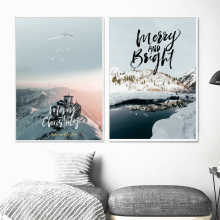 Snow Forest Mountain Landscape Quotes Wall Art Canvas Painting Nordic Posters And Prints Wall Pictures For Living Room Decor