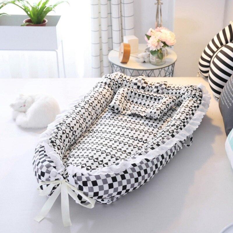 2019 nouveau bébé pour chaise longue pour couffin et bébé Portable berceau respirant lit de soin nouveau-né nid sommeil avec oreiller bébé