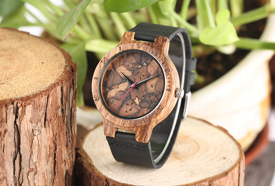 Creative Simple Wood Watches Men's ZebraCork SlagBroken Leaves Face Wrist Watch Original Wooden Bamboo Male Clock Relogio 2017 2018 Christmas Gifts (35)
