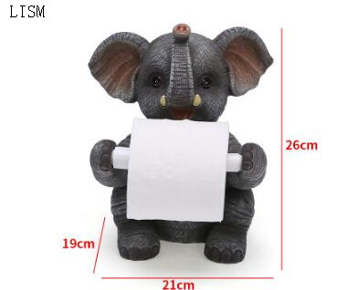 Vertical resin animal paper holder creative cute elephant roll paper holder living room home environmental