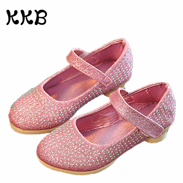Rhinestone Kids Sandals Girls Princess Shoes  Fashion Square High Heels Dress Party Shoes Pink Silver Gold Glitter Sandals Girl