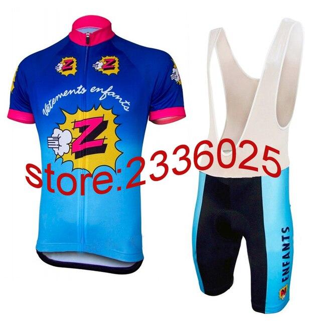 France camisa de ciclismo dos homens define-manga curta azul camisa preta  conjuntos almofada de 0f9960fd744e9