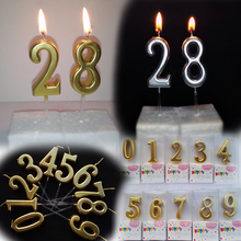 1pcs New Gold/Sliver Number 0 1 2 3 4 5 6 7 8 9 Birthday Cake Topper Candle Kids Baby Annivesary Party Decoration