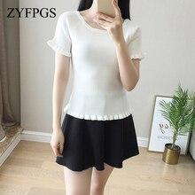 ZYFPGS 2019 Black T-Shirts For Women Knitted Sexy Lotus Leaf Short-Sleeved T-Shirt Female Korean Tops Groot Summer Hot SaleL0512