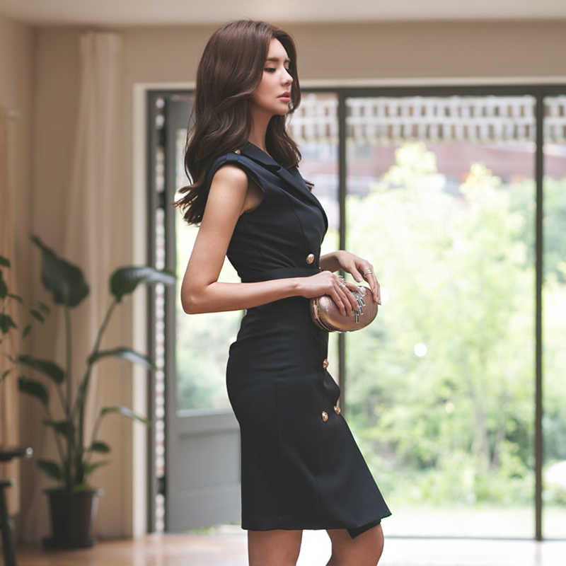 b450c84a636f ... 2018 Women Summer Office Lady Belted Vestidos Sleeveless Work Wear Slim  Double Button Sexy korean fashion ...