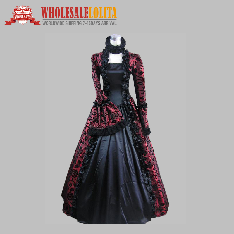 Top Sale Wine Red and Black Marie Antoinette Masked Ball Victorian ...