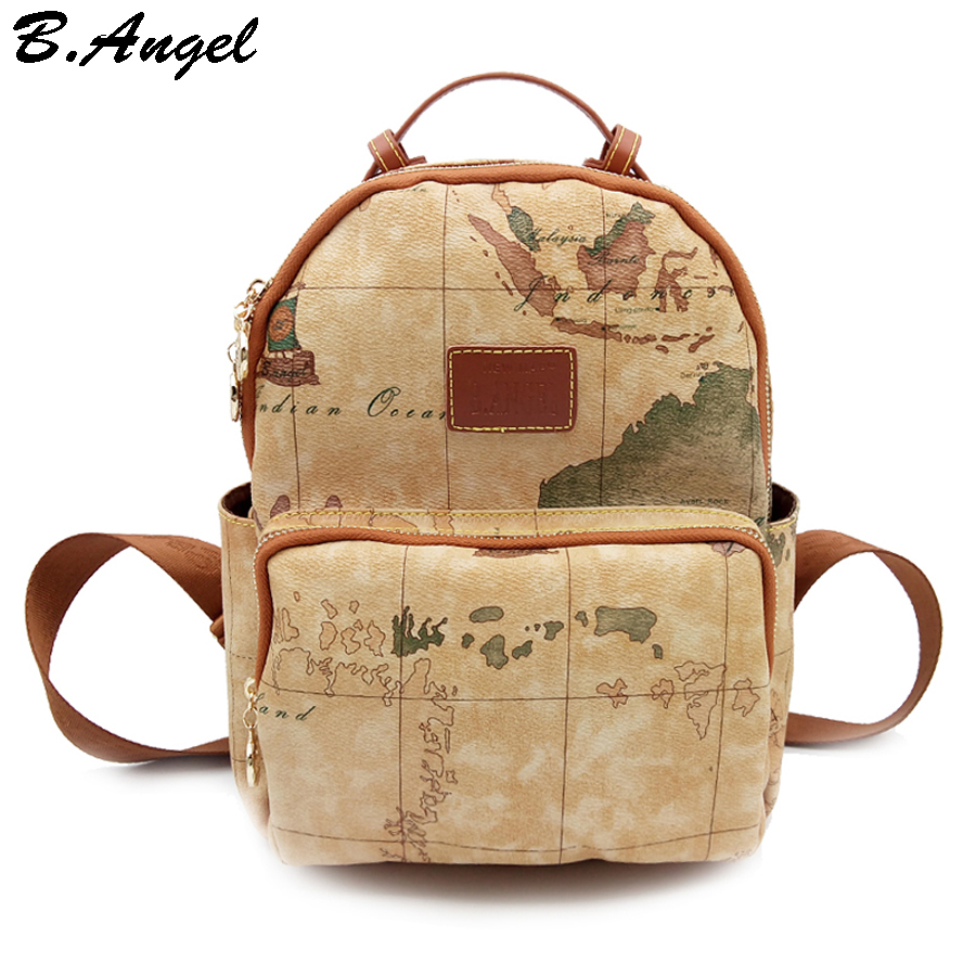 High quality world map backpack women backpack leather backpack printing backpack travel bag  цена и фото