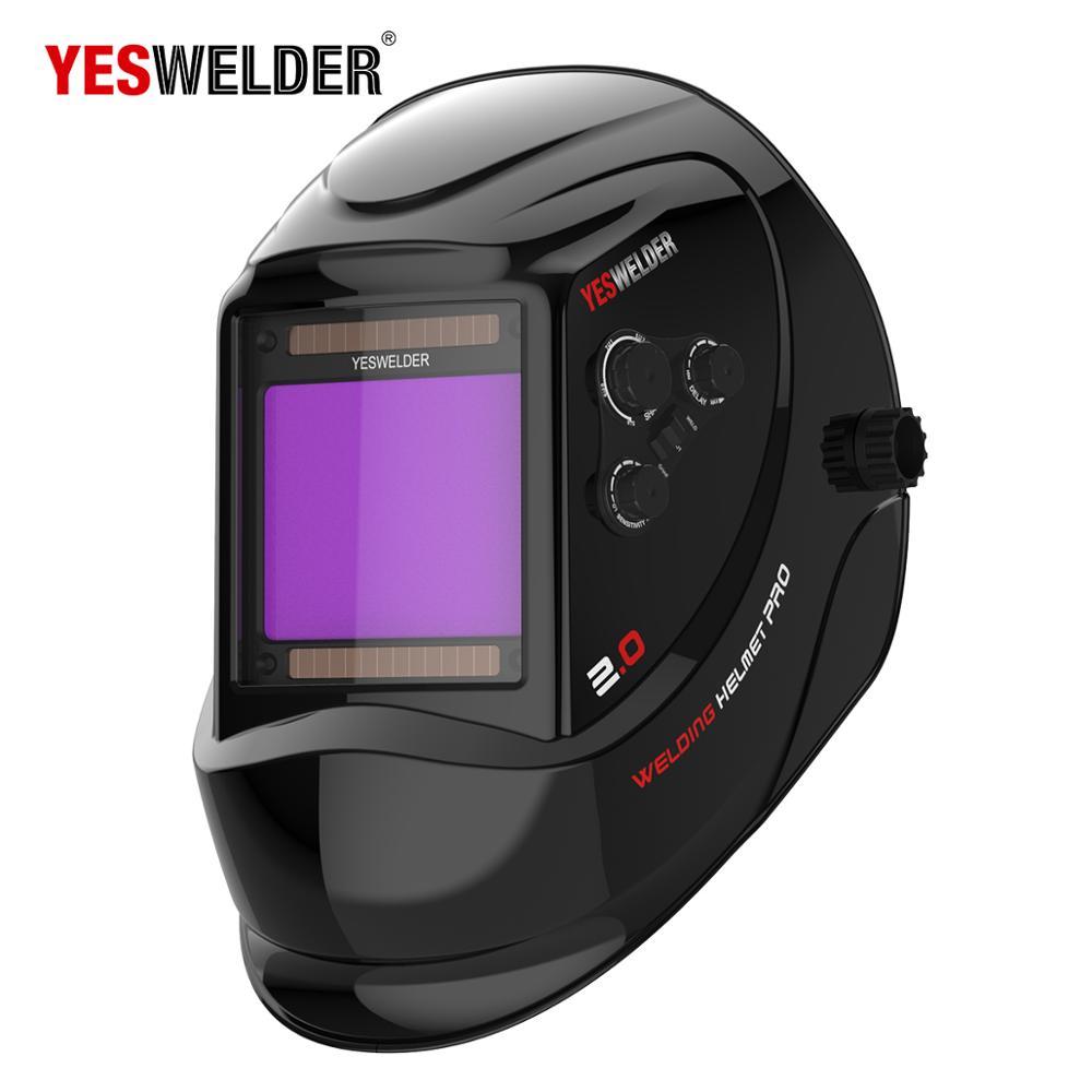 Grand écran de visualisation vraie couleur 4 Arc capteur solaire Auto assombrissement casque de soudage Large ombre 4 ~ 5/9-9/13 masque de soudeur