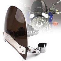 Free Shipping 1set Motorcycle Smoke Fork Mount Windscreen Windshield For Harley XL883 1200 Honda Yamaha Kawasaki
