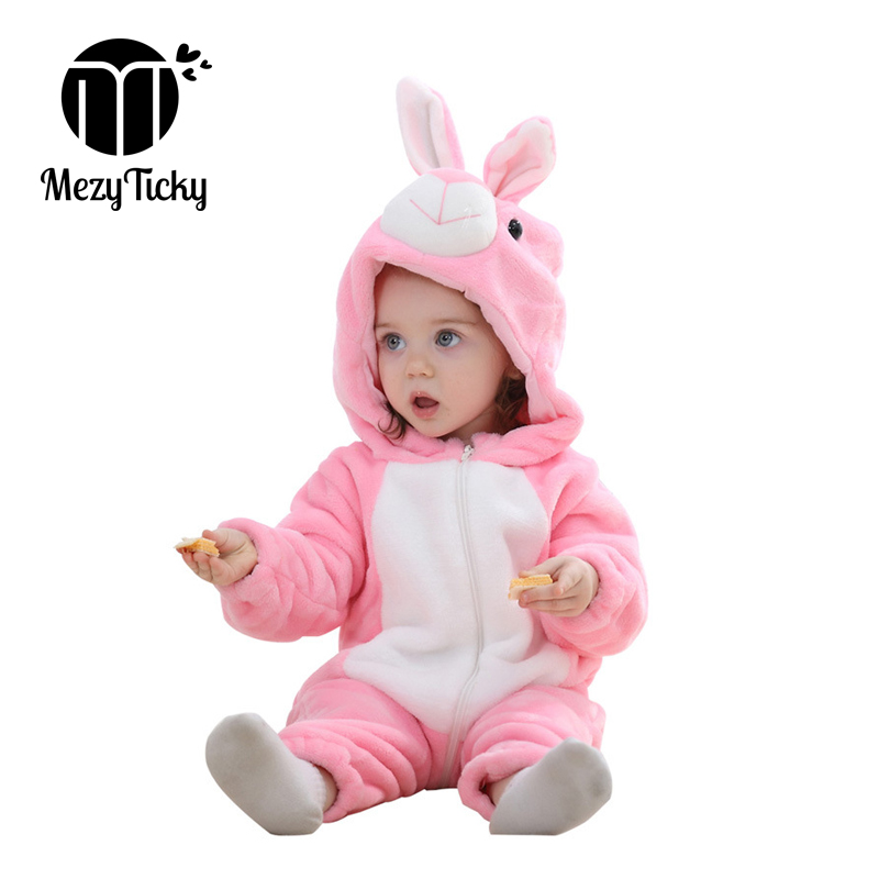 Winter warm Boys bebe Hooded Costumes Toddler rompers infant girls Flannel pajamas Clothes Kids plush jumpsuit animal clothing