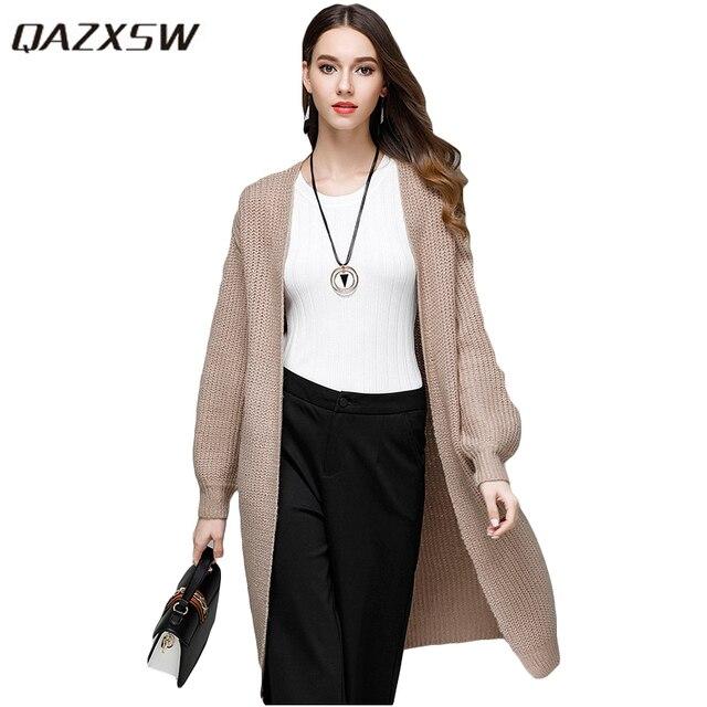 ee49ea0d7254d Qazxsw mujeres capa básica Corea suéter cardigan para mujer cardigan de  punto flojo sólido otoño Jumper