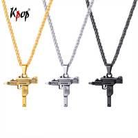 Kpop УЗИ пистолет в форме ожерелье Панк ювелирные изделия золотистого цвета из нержавеющей стали Tommy Gun подвеской для мужчин GP2594