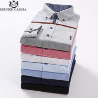 Sergio K Camisa Men Solid Casual Shirt Mens Long Sleeve New Brand Dress Shirt Top Quality