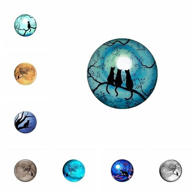 5 pcs Gato Sob As Estrelas 20mm 25 Tempo mm Vidro Redonda Cabochão De Vidro Foto Plane Foto DIY Handmade acessórios de jóias Por Atacado