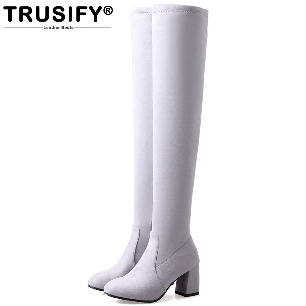 TRUSIFY 2018 Ohbeyond thigh high boots sexy womans boots motorcycle boots women square heels fashion boots