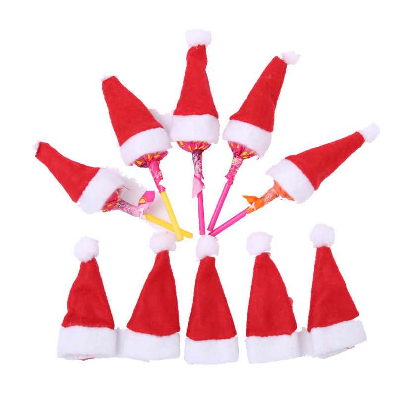 30Pcs Hot Sale Mini Santa Claus Hat Christmas Xmas Holiday Lollipop Top Topper Cover Festival Decor Wholesale