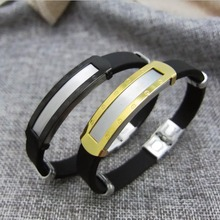 Men Charm Jewelry Pulseras Silicone Rubber Wristband Bracelets Stainless Steel Bracelet Male Bangles Personalized Gifts Armband