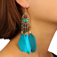 Colorful Acrylic Beads Tassel Feather Earrings for Women Red Blue Fringed Drop Earrings Handmade Long Feather Tassel Earrings dreamcatcher design feather drop earrings