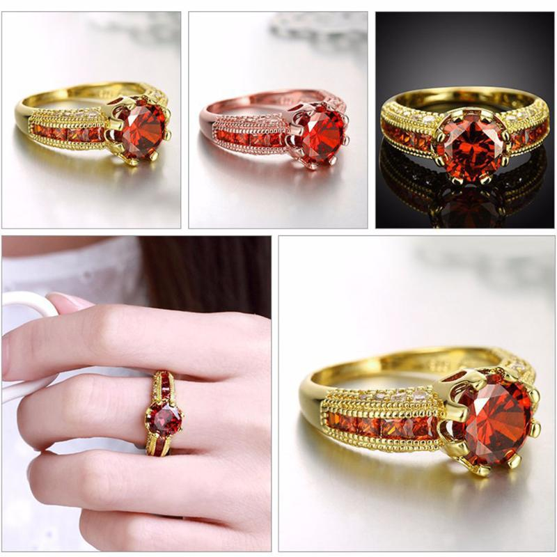 1ct Couple Zircon Inlaid Red For Female Ring Fashion Jewelry Lovers Rings Men Women Valentines Day Wedding Ring Simple Jewelry
