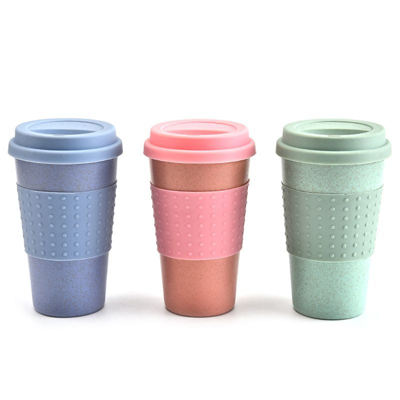 350ml Eco-Friendly Wheat Straw Coffee to Go Cups Travel Mug With Lids Travel Cup Portable for Camping Hiking Picnic