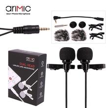 Ulanzi AriMic 6 m Dual-Cabeça Lapela Lapela Clip-on Microfone para Palestras ou Entrevista para Smartphone Móvel telefone e Tablets
