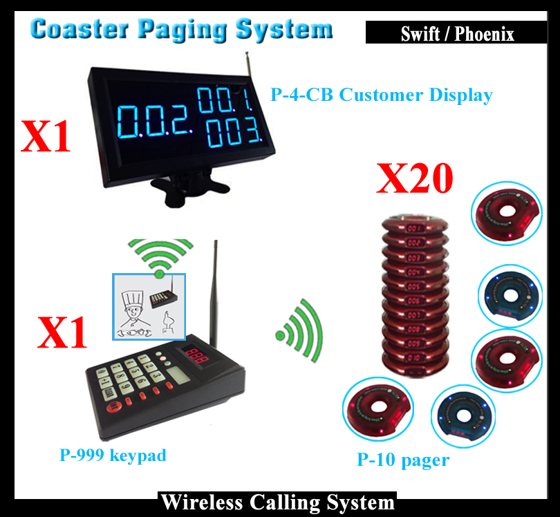 Restaurant Wireless Calling System With Keypad Number Transmitter And Pager And Display Work showing Call Number