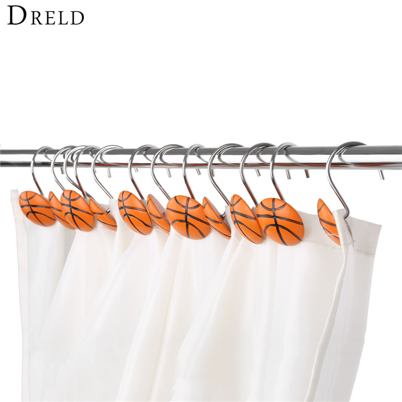 DRELD 12 teile/satz Dusche Vorhang Haken Gardinen Valance Aufhänger Home Cafe Hotel Decor Haken Dusche Vorhang Ringe Vorhang Dekorative