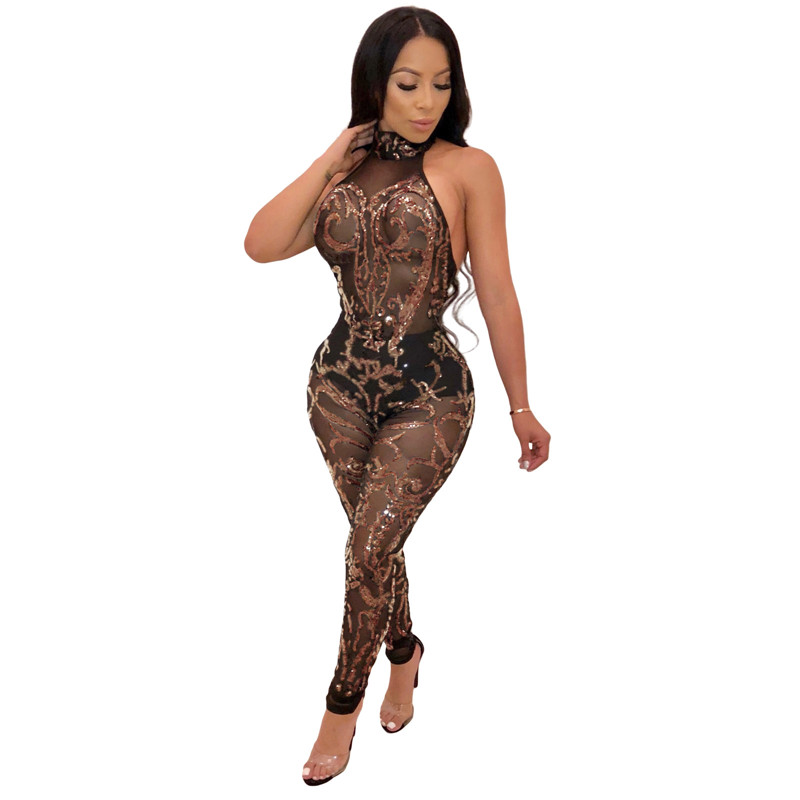 f6a7a218a0360 US $20.49 45% OFF|Sparkly Gold Sequin Jumpsuit Women Sexy Black Sheer Mesh  Open Back Bodycon Jumpsuit Romper Clubwear Christmas Party Jumpsuits-in ...