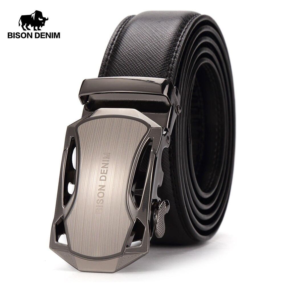 BISON DENIM Men Belt Genuine Leather Luxury Strap Male Belts For Business Men Automatic High Quality Buckle Gift Belts N71303