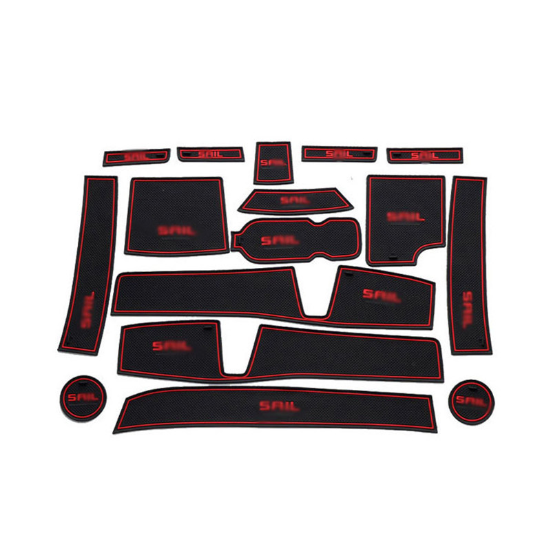 High Quality 1set Non-Slip Interior Soft Rubber Door Panel Mats Cup Holder Pad For Chevy Sail 3 2015