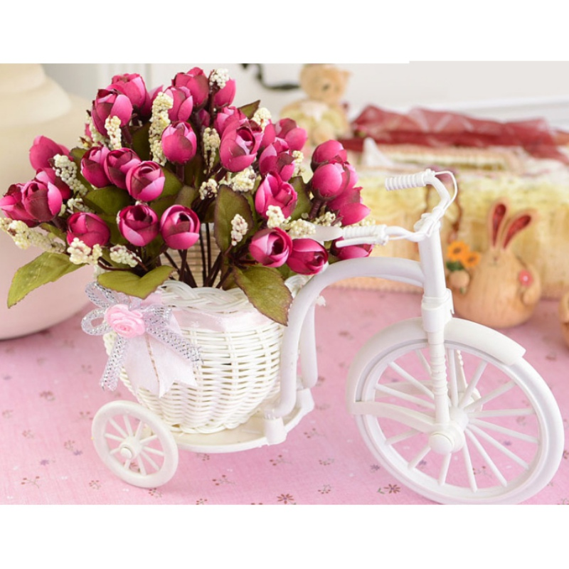 Hot Sale 2017 DIY White Tricycle Bike Plastic Design Flower Basket Container For Flower Plant Home Weddding Decoration