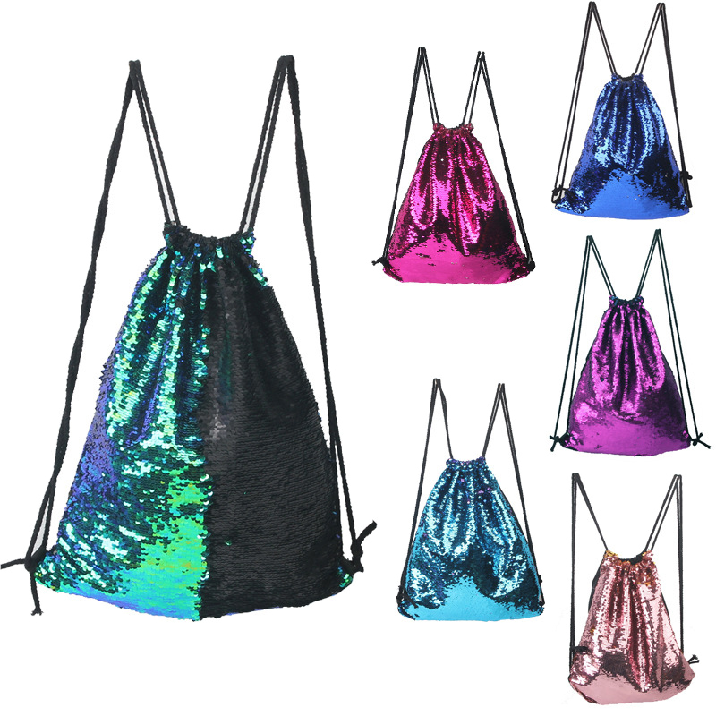 Wulekue Mermaid Sequin Backpack Glittering Shoulder Bling Bags Reversible Glitter Drawstring Backpacks Women Beach Bags