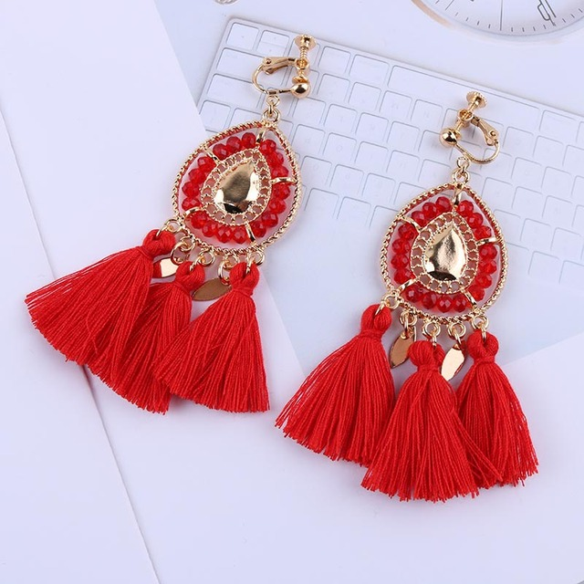 New Arrival Tassel Clip On Earrings Without Piercing Bohemia Fashion Jewelry Trendy Cotton Rope Fringe Ear Clip For Women Party
