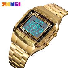 SKMEI Luxury Sports Watch Golden Men's Watch Led Digital Alarm Countdown Steel Male Wrist Watches Clock relogio masculin 1381