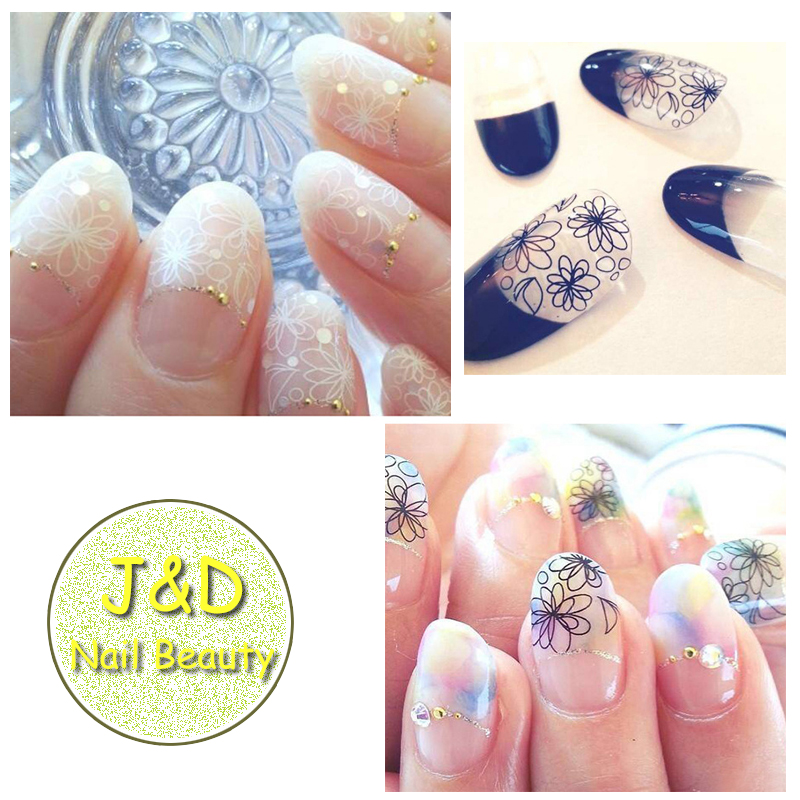 FOREVERJASMINE Black White Lace Sakura Nail Art Sticker