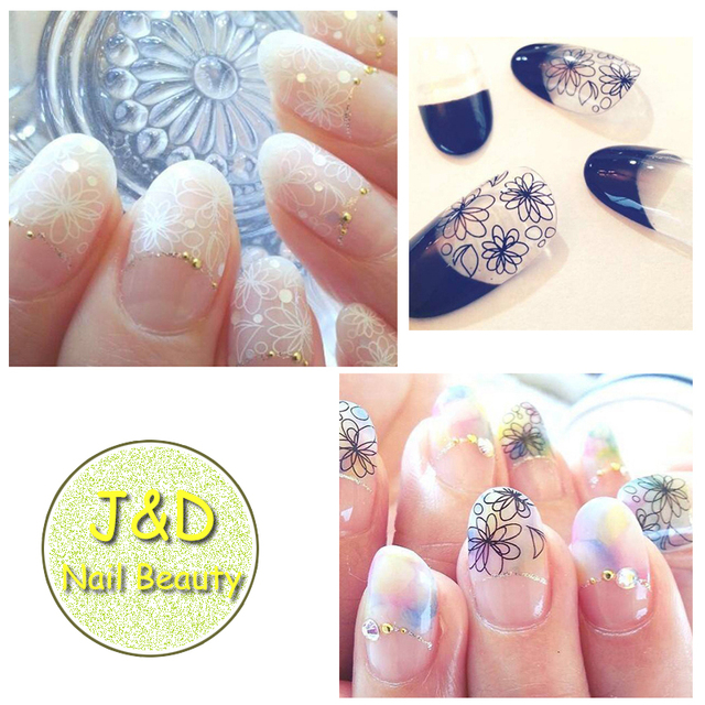 FOREVERJASMINE Black White Lace Sakura Nail Art Sticker Daisy Flower Decals Bridal Wedding French Manicure